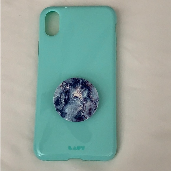 new product 5c8b7 e145d Laut turquoise iPhone XS case with pop socket